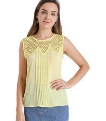 blusa detalles calados amarillo nicopoly