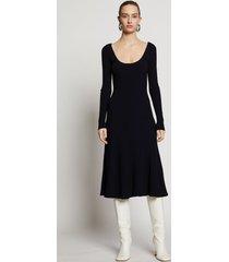 proenza schouler patchwork knit dress black/navy/blue l