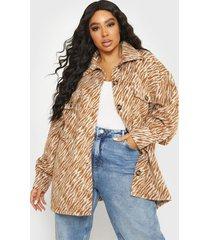 chaqueta missguided plus size brushed zebra shacket marrón - calce holgado