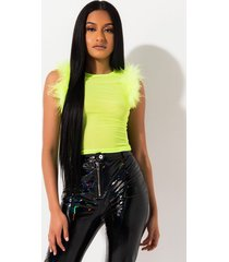 akira love is like wow feather trim mesh top