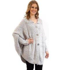 poncho de tricô comprido com mangas sumaré 31043 - feminino