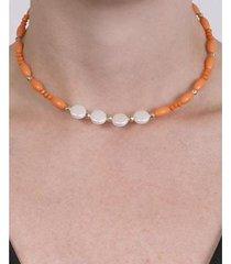 gargantilha choker de metal com pedra laranja antonella atacado bijuterias feminina