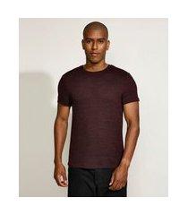 camiseta masculina slim manga curta gola careca vinho