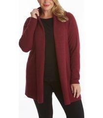 women's plus size ribbed long sleeve open cardigan