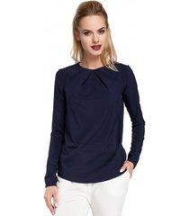 blouse moe m307 zijden blouse met plooien vooraan - marineblauw