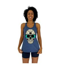 regata feminina alto conceito mexican skull mescla marinho