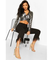 metallic deep v front top with knot, silver