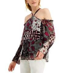 inc international concepts patchwork print cold-shoulder top, created for macy's