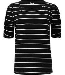 camiseta a rayas con recogido color negro, talla 6