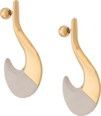 marni contrast panel structured earrings - gold
