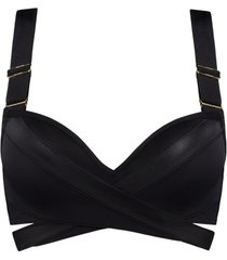 cache coeur push up bikini top | wired padded black - 38b