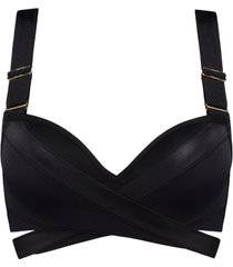 cache coeur push up bikini top | wired padded black - 32dd/e