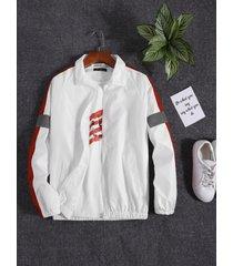 koyye chaqueta con cremallera de manga larga con estampado de bloques de color elegante para hombre