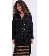 jaqueta de sarja feminina alongada com faixa para amarrar preto
