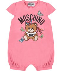 moschino fuchsia and yellow babygirl suit with teddy bear