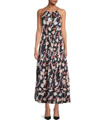 joie women's printed cotton & silk-blend maxi dress - caviar multi - size xxs