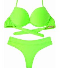 biquíni bojo bolha alça estreita divance calcinha fio dental cós duplo verde lime