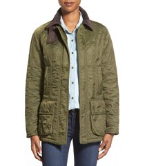 barbour beadnell fleece lined quilted jacket, size 14 us in olive/olive at nordstrom