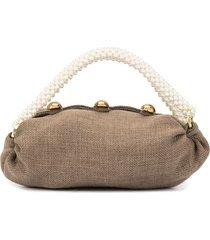 0711 small nino pearl-handle tote - brown
