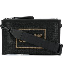 versace jeans couture crystal-embellished branded clutch bag - black
