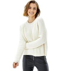 sweater crop chenille mujer ecru corona