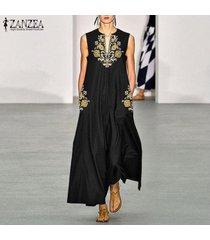 zanzea partido de las mujeres ocasionales de la playa del club floral maxi largo del vestido sin mangas vestido de tirantes -negro