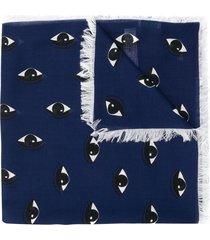 kenzo eye logo scarf - blue