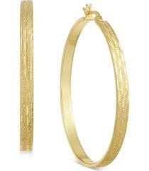 essentials gold plated textured flat medium hoop earrings