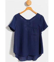andee lattice back blouse - navy