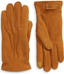 men's ugg three-point leather tech gloves, size large - beige