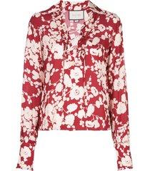 alexis poppy print blouse - red