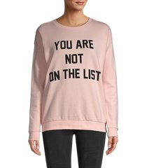 south parade women's not on the list cotton sweatshirt - pink - size s