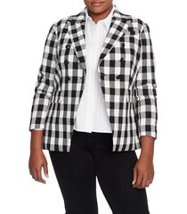 plus size women's court & rowe textured gingham cotton blend blazer, size 20w - black