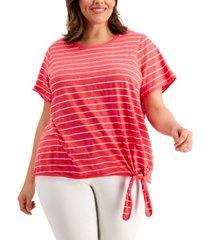 calvin klein plus size striped tie-hem top