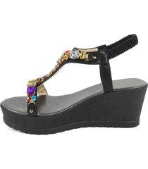 sandalia cuero piedras negro mailea