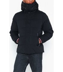 tommy hilfiger cwc stretch nylon hooded bomber jackor jet black