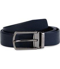 boss hugo boss men's ofis leather belt - navy