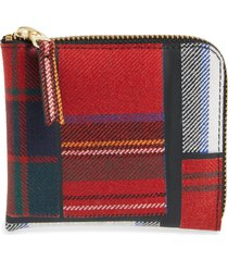 comme des garcons tartan patchwork half zip french wallet - red