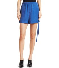 helmut lang women's side strap sport shorts - cobalt - size m