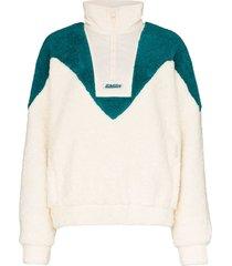 misbhv panelled half-zip fleece sweatshirt - neutrals