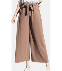 harem casual a vita alta elastico in chiffon dritto pantaloni
