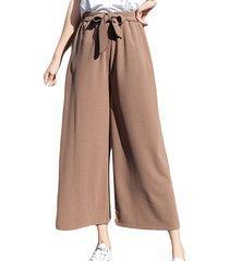 pantaloni dritti harem in vita alta elastica in chiffon casual