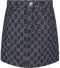 gucci blue skirt for girl with double gg