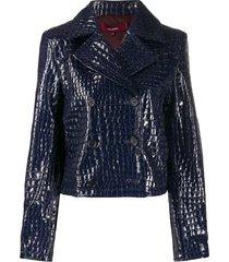 sies marjan crocodile embossed cropped jacket - blue