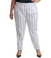 calvin klein trendy plus size striped slim-leg pants