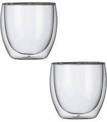 conjunto de 2 copos para chá com parede dupla em vidro 250ml hot cold kenya