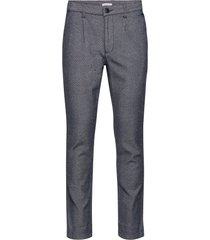 chuck twill pleated pant - gots/veg casual byxor vardsgsbyxor blå knowledge cotton apparel