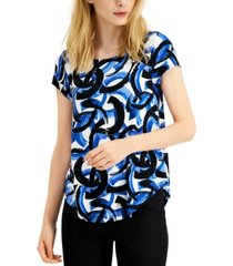 alfani petite printed scoop-neck top, created for macy's