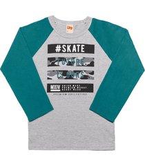 camiseta livy inverno skate mescla médio/petróleo
