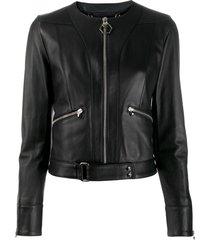 philipp plein statement leather jacket - black